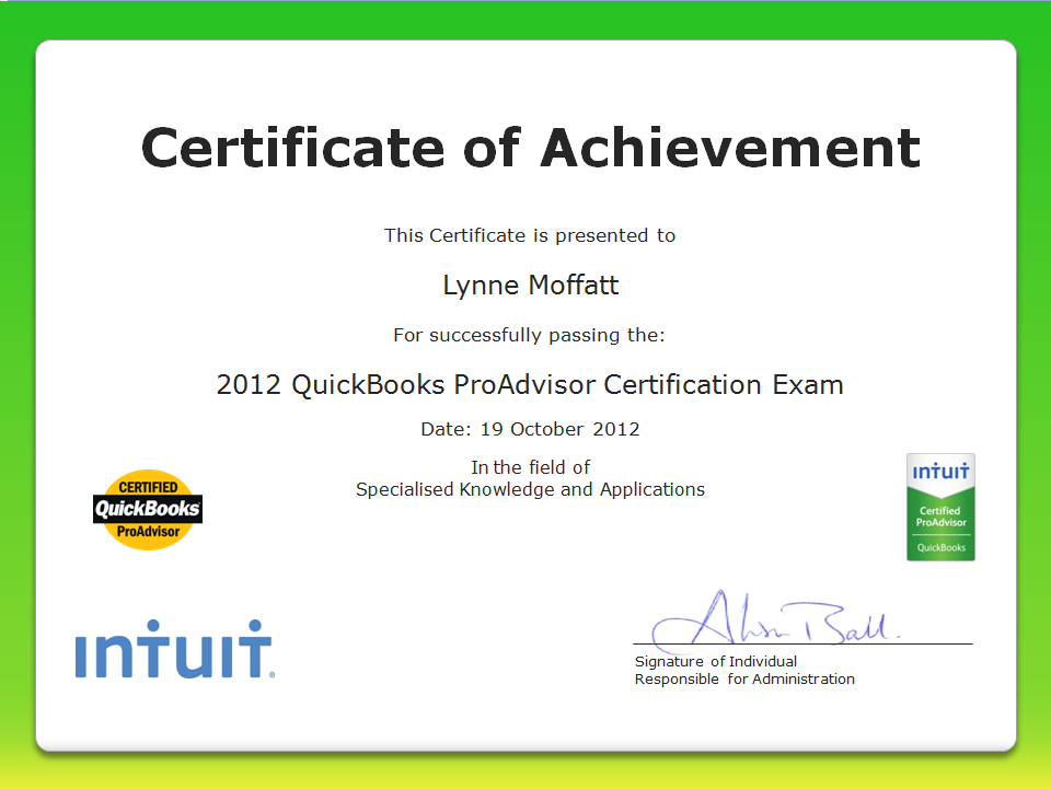 Lynne Moffatt, Scottish Law Accountant becomes QuickBooks Certified ProAdvisor