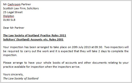 The Law Society of Scotland Accounts Rules inspection letter