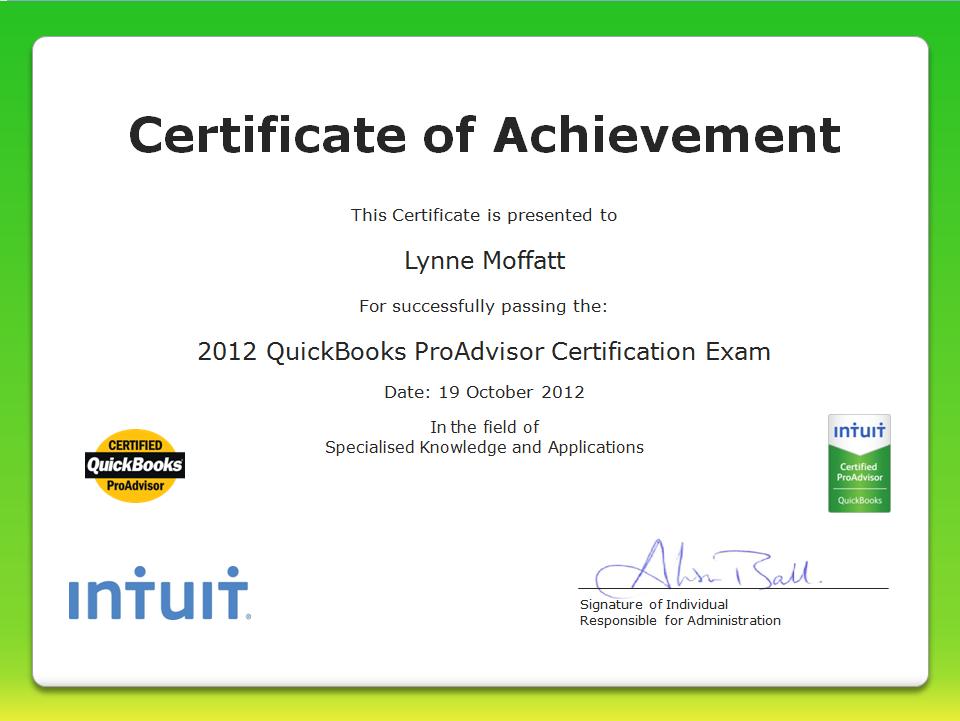Lynne Moffatt, Scottish Law Accountant becomes QuickBooks Certified ProAdvisor
