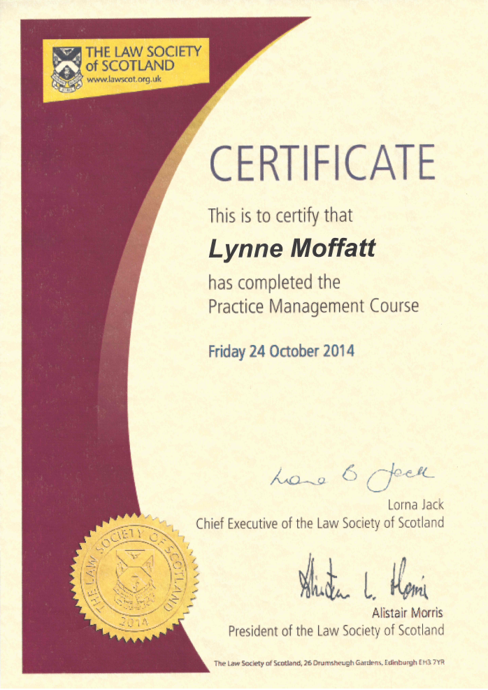 Law Society New Partners Management Course Certificate